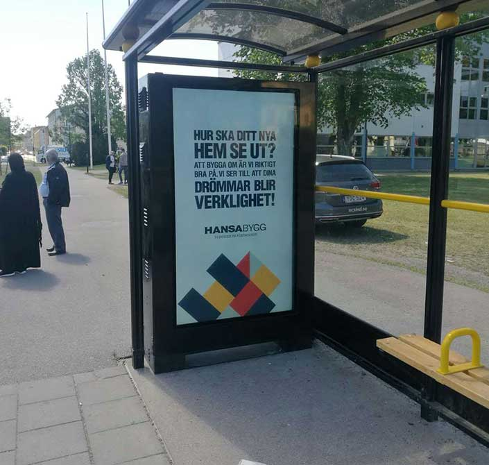outdoor signage bus shelter display in Sweden