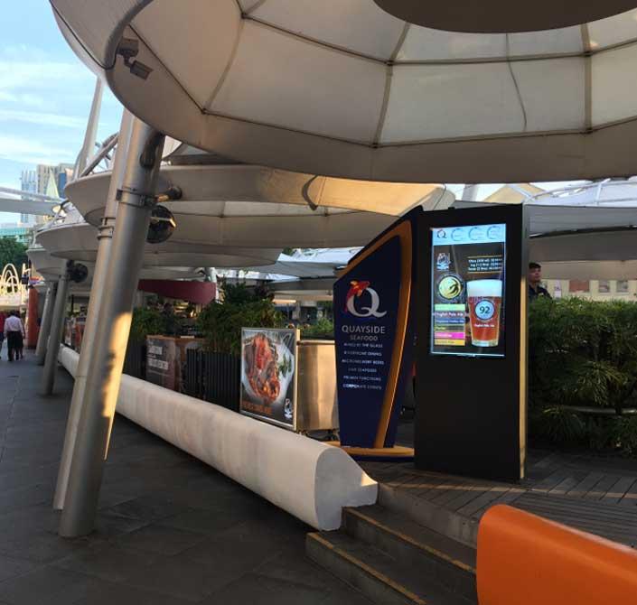 outdoor digital signage in Singapore sea food restaurant