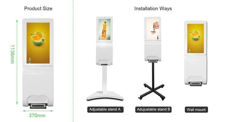 wall mount digital hand sanitizer kiosk installatio