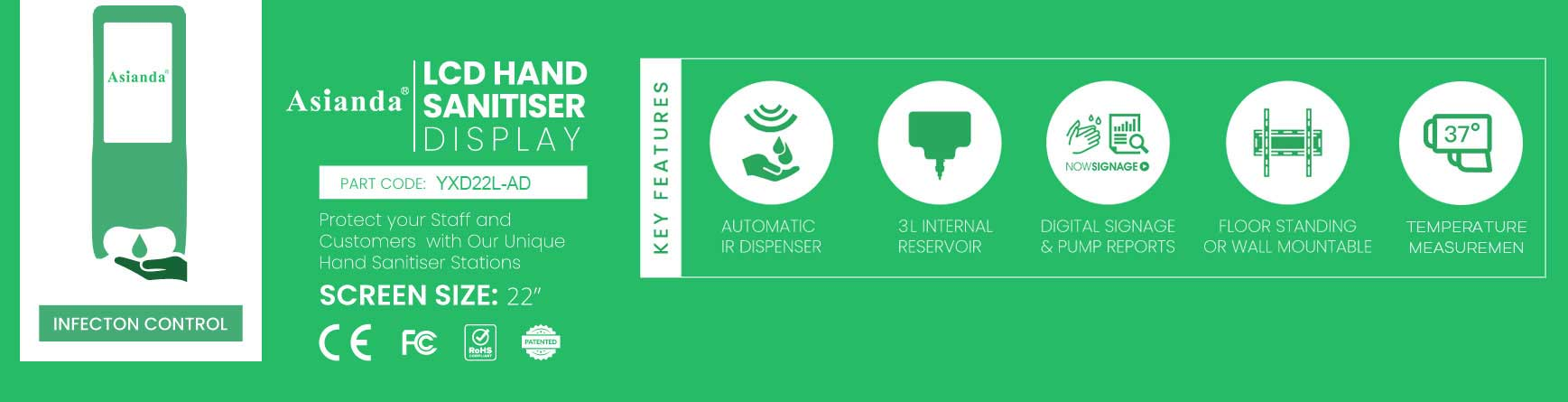 key features of Asianda hand sanitizer Display