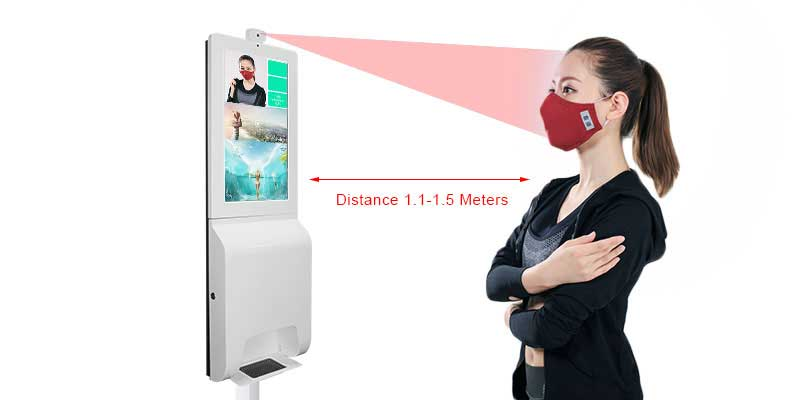 21.5 inch hand sanitizer signage display with face recognition temperature measurement kiosk