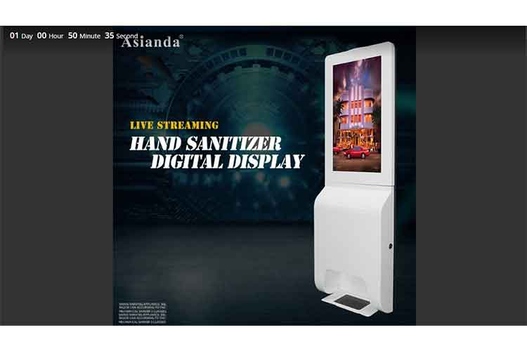 picture on the live streaming sanitizer signage diplay