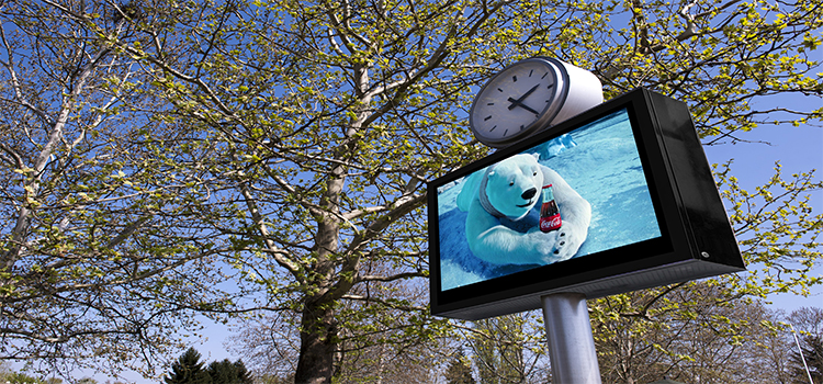 Outdoor digital signage for bus station