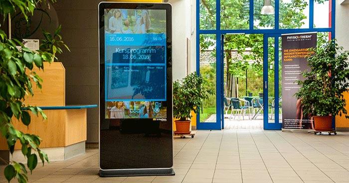 indoor digital signage install in hall