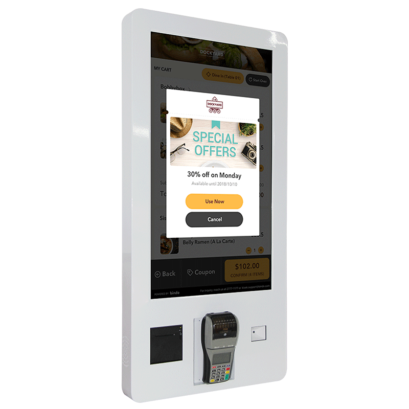 27 Inch Payment Touchscreen Kiosk with Advertising Display