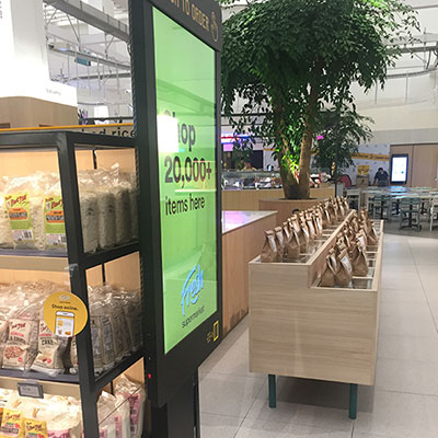floorstand touch kiosk advertising display screen digital signage in retailer