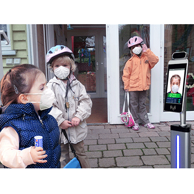 YXD-F8 8 Inch Facial Recognition Temperature Measurement Terminal For School Reopen